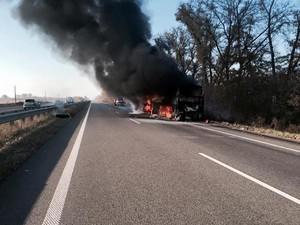 пожар в автобусе на трассе харьков - киев